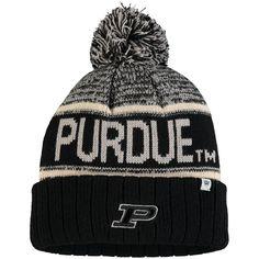 175e28bae4f Purdue Boilermakers Top of the World Acid Rain Cuffed Pom Knit Hat - Black