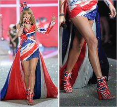 """taylorswiftstyle: """"""""My Songs Know What You Did In the Dark""""   2013 Victoria's Secret Fashion Show   November 13, 2013 Nicholas Kirkwood custom heels Custom open-toe Union Jack lace up booties completed Taylor's performance outfit during the 'British..."""