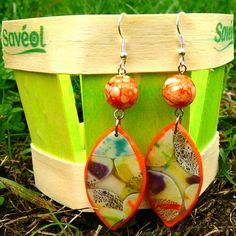 Boucles d'oreilles navettes motif bulles d'automne pâte polymère