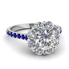Blossom Halo Ring || Round Cut Diamond Halo Ring With Blue Sapphire In 14k White Gold