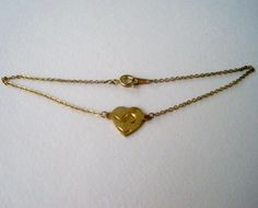 Vintage 80s Retro Cottage Chic Signed Korea Goldtone Heart Cable Chain Anklet by ThePaisleyUnicorn, $3.00