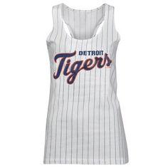 Women's Detroit Tigers 5th & Ocean by New Era White Opening Night Pinstripe II Tank Top
