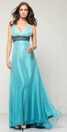 Blue Prom Dress Formal Pleated V-Neck Rhinestone Waist Organza Gown $177.99