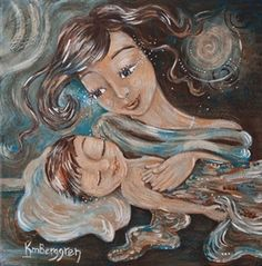 Depth Of Possibility - mother with sleeping child print by Katie m. Berggren