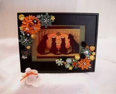 Framed Jewelry Postcard Halloween Repro -Mischevious Cats - Flower Arrangement #Vintage
