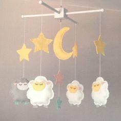 Baby Mobile -  Sleepy Sheep and Stars Mobile -Sheep crib Mobile - Nursery Decor -  Baby girl Mobile - Baby Boy Mobile - Stars Mobile