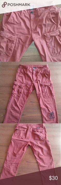 A/X Distressed Cargo Pants Armani Exchange Cargo Pants  * Color: Brick Red (the last picture shows the color best) * Size: 33R Armani Exchange Pants Cargo