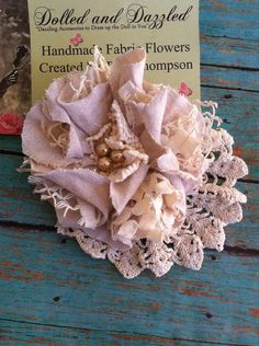 Rustic Flowers Linen and Lace Flowers Cake Flowers Bridal Burlap Lace, Burlap Flowers, Rustic Flowers, Diy Flowers, Beaded Flowers, Fabric Flowers, Flores Shabby Chic, Shabby Chic Flowers, Bridal Shower Flowers