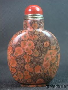 Soft orange red and brown - Chinese Red Ocean Jasper Snuff Bottle  ~  1900-1940