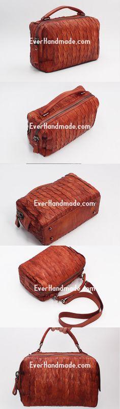 Handmade Leather Handbag Boston Bag Purse Crossbody Shoulder Bag for Women Lady