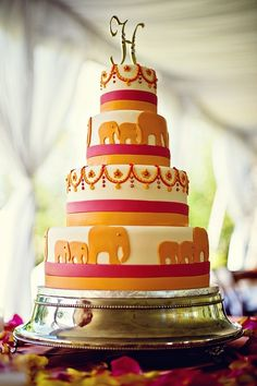 Indian wedding cake. Elephant wedding cake. Orange and pink wedding cake