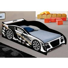 Bedroom Themes, Bedroom Colors, Bedrooms, Bedroom Colour Schemes Neutral, Race Car Bed, Room Partition Designs, Living Room Sofa Design, Car Themes, Kids Room Design