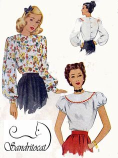 1940s MCCall 6523 ELEGANT Set of Womens Blouses by sandritocat; create in delicate Batiste, Victorian Laces & Trim. This is bound to be a absolutely stunning addition to any Lady's wardrobe
