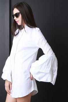 Bell Sleeve Button Up Shirt Dress