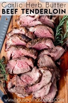 This Garlic Herb Butter Beef Tenderloin Roast recipe makes a delectable, melt-in-your-mouth cut of meat. So tender! This Garlic Herb Butter Beef Tenderloin Roast recipe makes a delectable, melt-in-your-mouth cut of meat. So tender! Beef Tenderloin Oven, Best Beef Tenderloin Recipe, Perfect Beef Tenderloin, Roast Beef Recipes, Pork Roast, Roasted Beef Tenderloin Recipes, Turkey Recipes, Roast Beef Cuts, Easy Roast Beef Recipe