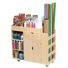 Let your kids' imaginations run wild with this Art Activity Cart by Guidecraft. This art cart will be the only thing you'll need to keep all of the arts and crafts and colorful materials that your kids will need to make their amazing creations. Art Supplies Storage, Art Storage, Storage Bins, Craft Supplies, Storage Center, Classroom Supplies, Storage Cart, Kids Storage, Arts And Crafts Storage
