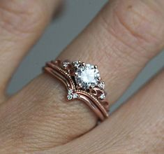 Beautiful vintage inspired round moissanite ring with diamonds Avaliable in 14 and 18k gold, platinum. Please select engagement ring or WHOLE SET option from the drop down menu. Other stones are also available: morganite, opal, pearl, turquoise, diamond, rose cut diamond, black diamond,