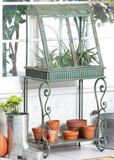 Antique Verdi Green Standing Terrarium I want one of these!!!