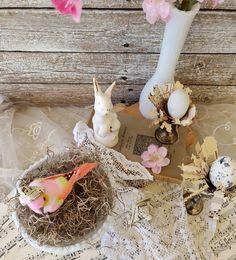 Easter Bird Nest Decor Vintage Easter Arrangement Easter Egg | Etsy Easter Table Decorations, Easter Decor, Easter Centerpiece, Table Centerpieces, Vintage Shabby Chic, Etsy Vintage, Vintage Shops, Vintage Easter, Rustic Decor