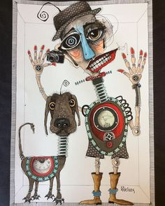 "This was inspired by David Lipson ( on IG - check out his work! I am calling it ""Robotman's Best Friend"" 13 x I had great fun with these two characters! Stella Art, Magazine Collage, Quirky Art, Wow Art, Human Art, Art Journal Pages, Abstract Wall Art, Art Sketchbook, Face Art"