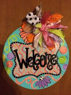 Super cute spring/summer Welcome signs by JAGARToriginals on Etsy, $35.00