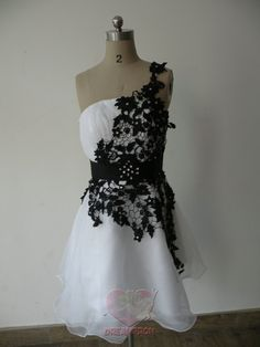Custom Handmade White with Black Lace A Line Organza Formal Short Prom/Evening/Party/Bridesmaid/Cocktail/Homecoming Dress Gown on Etsy, $123.06 CAD