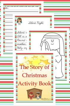 Help kids remember the story of Christmas with this printable activity book! Includes Scripture copywork, coloring, art, stationary and more! :: www.thriftyhomeschoolers.com
