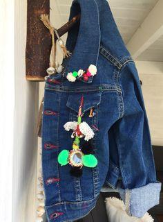 #jeans#pompons#kids#Ibiza#handmade#jacket www.bohemianwishes.nl