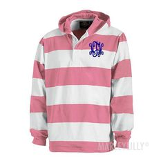 Monogrammed Hooded Rugby Pullover | Marley Lilly