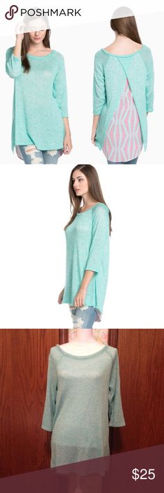 Layer Back Detail Knit Top Light weight Layered Look Knit Top. Front is mint 3/4 sleeve. Back is pink with mint designs. Scoop neckline. Back layering is smooth. 95% Polyester 5% Spandex. Hand wash in cold water. Lay flat to dry. Great with jeans or leggings. 100% made in America. All one piece. Auditions Sweaters Crew & Scoop Necks