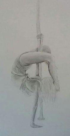 Danseuse de pole dance - crayons au plomb (Modèle : photo)