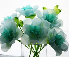 Paper Flowers Blue Roses Origami bouquet by NikkiCrossApplesauce