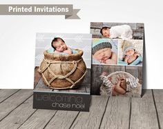 adorable little boy newborn baby announcement, double sided 5x7 inch baby announcement, high quality printed invitations