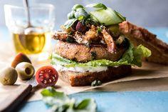 Greek Roasted Cauliflower Burgers with Pan Fried Feta and Tomato Olive Salsa | halfbakedharvest.com @hbharvest