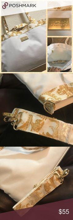 New oversize Versace Parfums tote bag Georgeous White and Gold XL tote bag with shoulder strap. Versace Bags Travel Bags