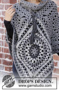 19 ideas crochet lace poncho pattern drops design for 2019 Granny Square Poncho, Crochet Square Blanket, Granny Square Crochet Pattern, Crochet Squares, Crochet Granny, Free Crochet, Crochet Lace Scarf, Crochet Poncho Patterns, Crochet Afghans