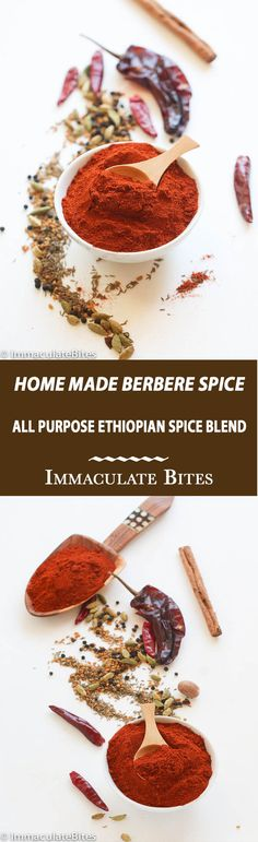 "Homemade Berbere Spice Seasoning Blend-  Ethiopian Berbere Spice made with cardamom, fenugreek, cumin,  ginger, chills, paprika and  more. A building block in Ethiopian Cooking. The word berbere means ""hot"" in Amharic —a spicy and flavorful spice blend. (Pronounced bari baray), somewhat of an all-purpose spice mix, widely used in Ethiopian dishes. A must have for Ethiopian cooking. …"