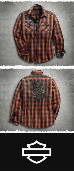 Circa 1910. | Harley-Davidson Women's Oak Leaf Plaid Flannel Relaxed Fit Shirt