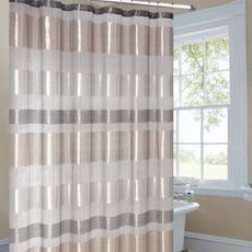 metallic striped shower curtain is made from luxurious metallic sheer fabric. It gives any bathroom a look of contemporary sophistication.