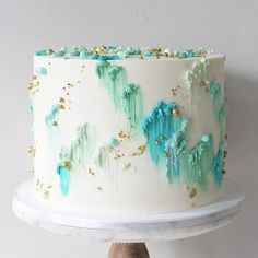 When I first made this design for 'No one', had no idea this would be my best seller. Another brush stroke design for Tiffany blue, mint, gold themed bridal shower. Inside is Gluten Free lavender honey cake. Gorgeous Cakes, Pretty Cakes, Cute Cakes, Amazing Cakes, Soul Cake, Buttercream Wedding Cake, Buttercream Icing, Gateaux Cake, Birthday Cake Decorating