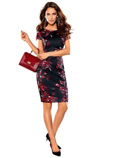 BLACK & RED Printed Sheath Dress from Creation L