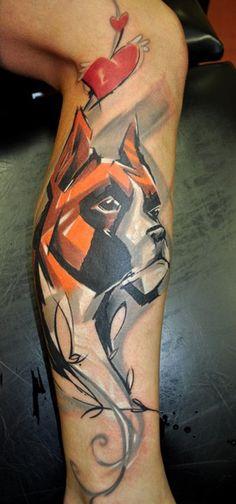 Peter Bobek heart boxer dog tattoo