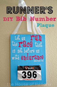 Great gift for a runner! Give them a place to keep their racing bib numbers with this DIY Bib Number Plaque