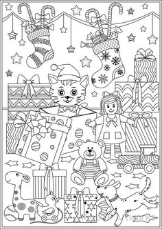 3 Christmas Coloring Pages Gifts And Toys Christmascoloring Coloringpage Lineart