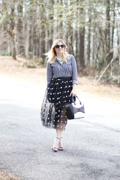 GlamGrace - By Tabby Polka dot tulle skirt paired with gingham. Kate Spade