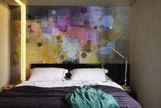 Ideen zum Schlafzimmer streichen-buntes geometrisches Muster-Mix