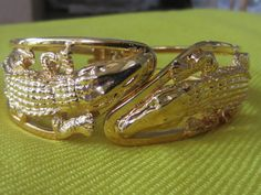 Vintage Gold Tone Two Alligators Facing Each by WhenRosesBloom, $28.00