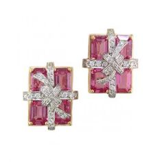 Sapphire-and-diamond earrings in the shape of a gift box with a bow. Set in gold and platinum from Oscar Heyman