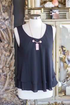 Black Woven Top with Gold Chain Necklace