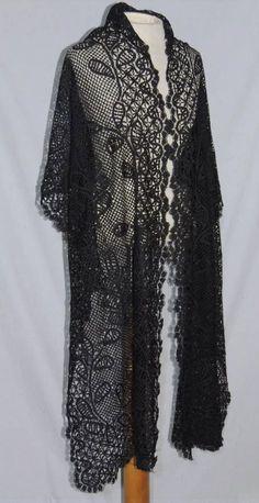 LG Victorian Hand Made Bobbin Lace Shawl / Stole